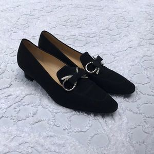 Black Prada Heels loafers with gem stone shoes 7